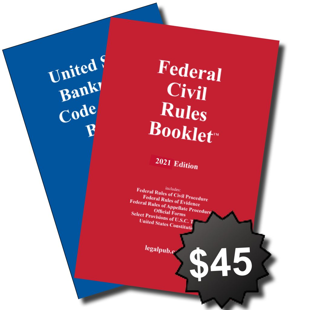 Front covers the Combo: the 2021 U.S. Bankruptcy Code and Rules Booklet and 2021 Federal Civil Rules Booklet.